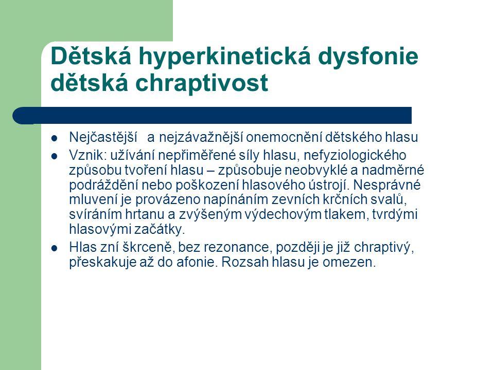Dětská hyperkinetická dysfonie dětská chraptivost Nejčastější a nejzávažnější onemocnění dětského hlasu Vznik: užívání nepřiměřené síly hlasu, nefyzio