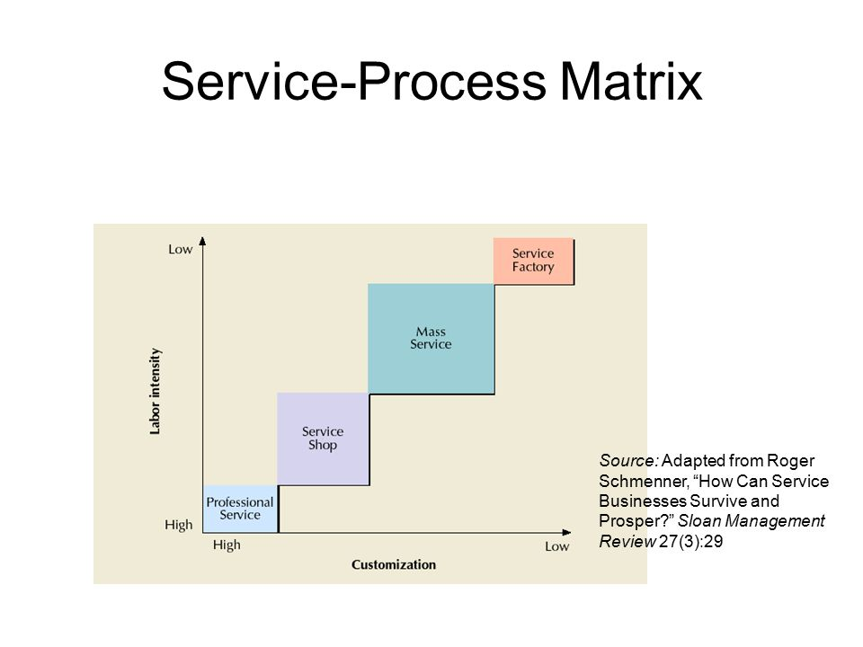 Service-Process Matrix Source: Adapted from Roger Schmenner, How Can Service Businesses Survive and Prosper? Sloan Management Review 27(3):29