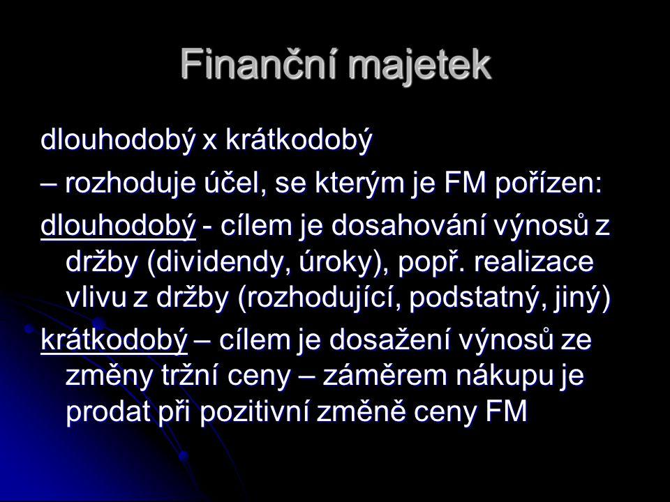 Finanční majetek dlouhodobý x krátkodobý – rozhoduje účel, se kterým je FM pořízen: dlouhodobý - cílem je dosahování výnosů z držby (dividendy, úroky)