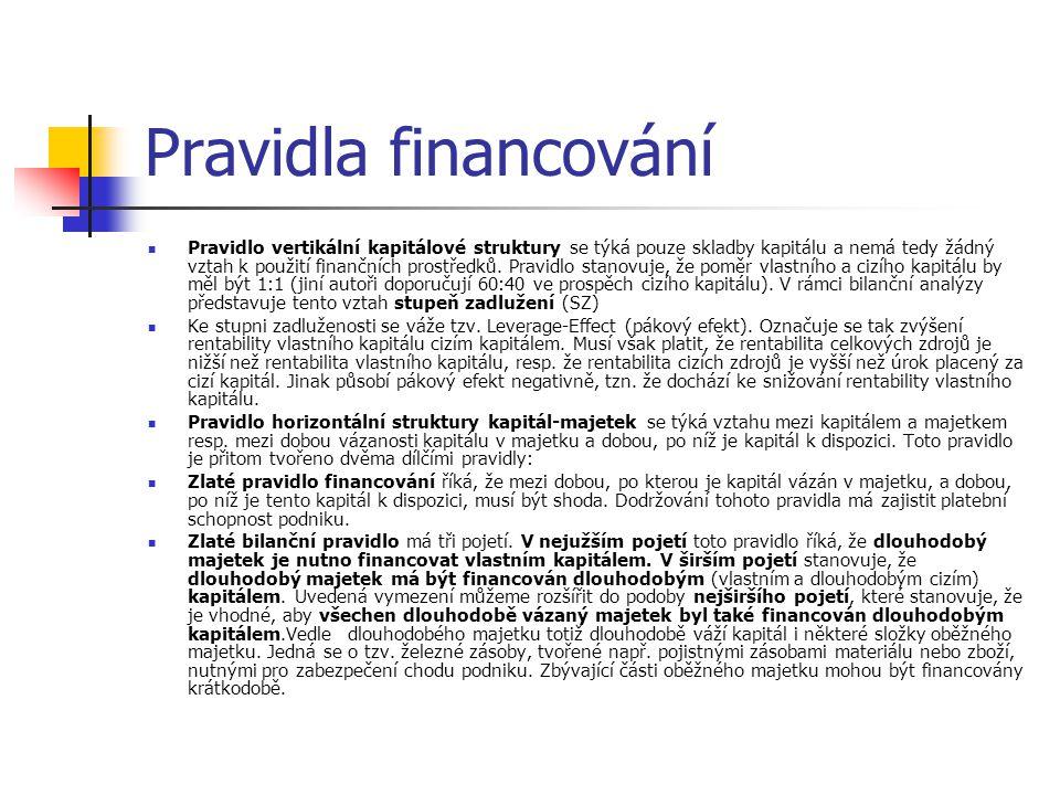 Pravidla financování Pravidlo vertikální kapitálové struktury se týká pouze skladby kapitálu a nemá tedy žádný vztah k použití finančních prostředků.