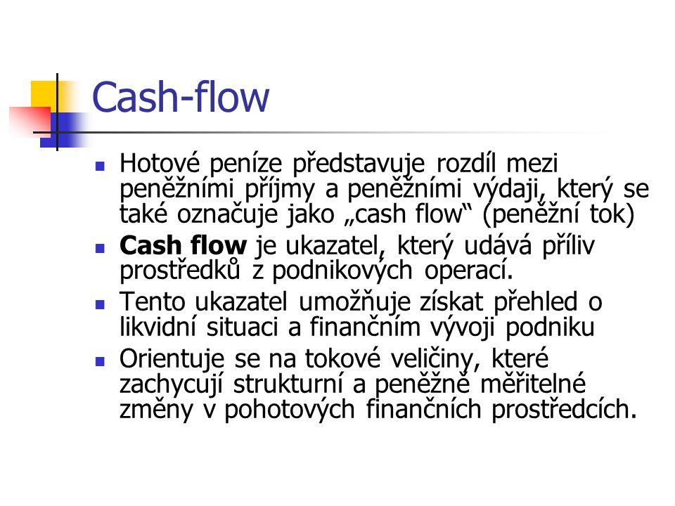 Cash-flow Obvykle se Cash flow zjišťuje nepřímo, prostřednictvím peněžních příjmů a peněžních výdajů a hospodářského výsledku za dané období Nepřímo se tedy cash flow stanoví tak, že se od hospodářského výsledku za příslušné období odečtou postupně všechny výnosy, které neznamenají peněžní příjmy (tzn.