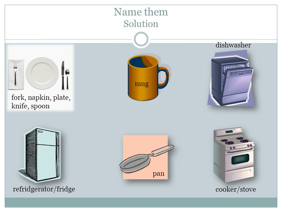 Name them Solution fork, napkin, plate, knife, spoon mug dishwasher refridgerator/fridge pan cooker/stove