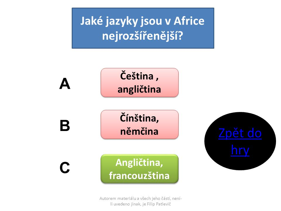 Autorem materiálu a všech jeho částí, není- li uvedeno jinak, je Filip Patlevič Jaké jazyky jsou v Africe nejrozšířenější? Čeština, angličtina Čeština