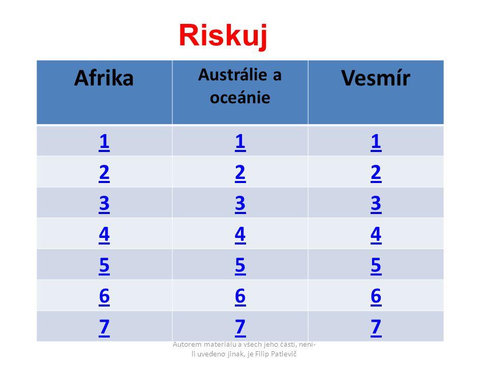 Afrika Austrálie a oceánie Vesmír 111 222 333 444 555 666 777 Riskuj