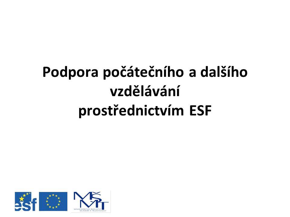 Podpora počátečního a dalšího vzdělávání prostřednictvím ESF