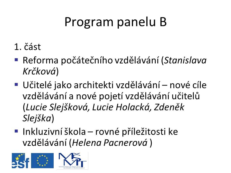 Program panelu B 1.