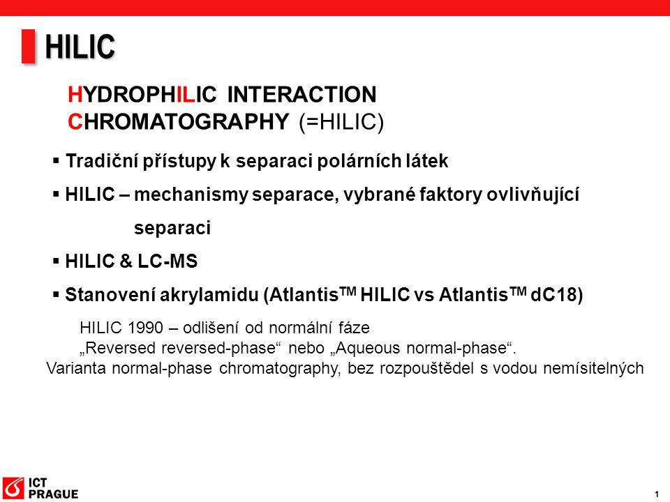 1 HYDROPHILIC INTERACTION CHROMATOGRAPHY (=HILIC)  Tradiční přístupy k separaci polárních látek  HILIC – mechanismy separace, vybrané faktory ovlivň