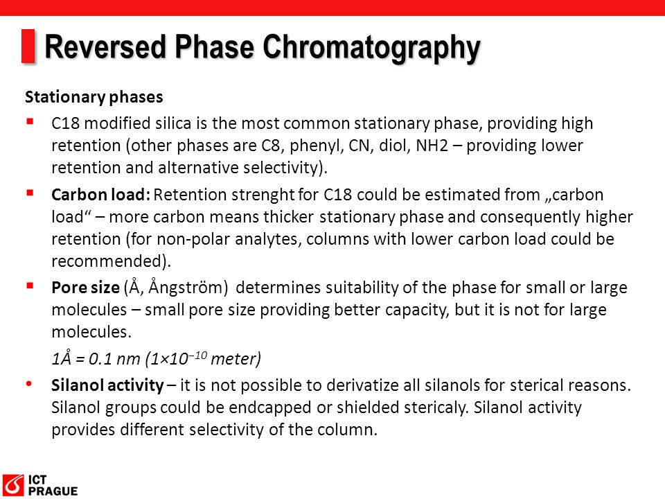 Reversed Phase Chromatography Stationary phases  Effect of chain lenght on retention.