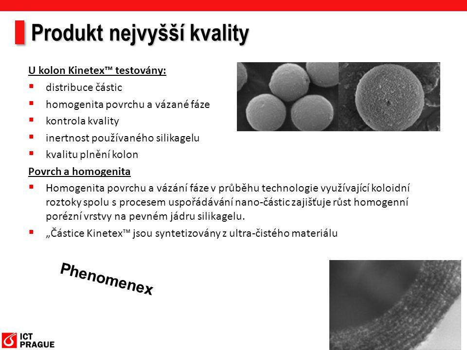 Produkt nejvyšší kvality U kolon Kinetex™ testovány:  distribuce částic  homogenita povrchu a vázané fáze  kontrola kvality  inertnost používaného