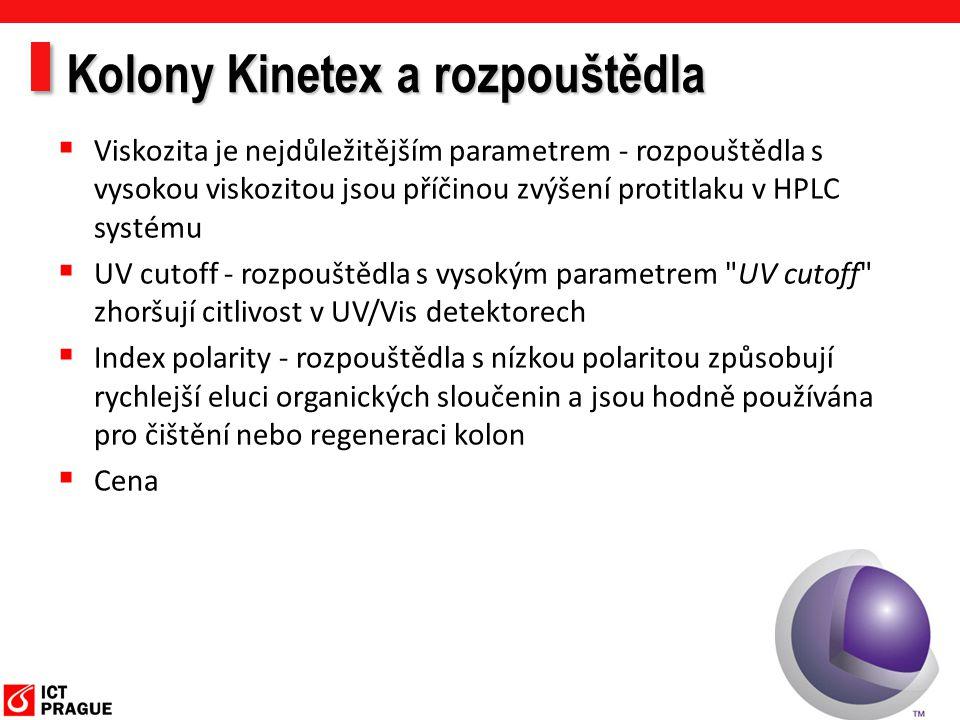 Kolony Kinetex a rozpouštědla  Viskozita je nejdůležitějším parametrem - rozpouštědla s vysokou viskozitou jsou příčinou zvýšení protitlaku v HPLC sy