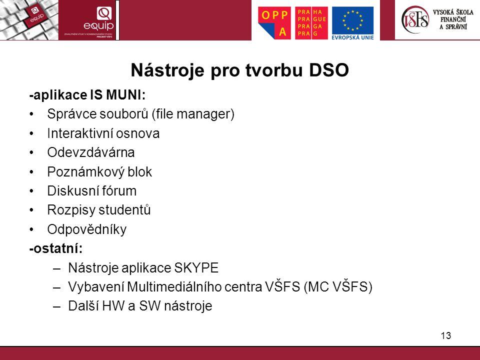 13 Nástroje pro tvorbu DSO -aplikace IS MUNI: Správce souborů (file manager) Interaktivní osnova Odevzdávárna Poznámkový blok Diskusní fórum Rozpisy s