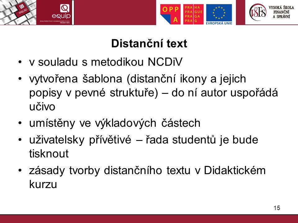 15 Distanční text v souladu s metodikou NCDiV vytvořena šablona (distanční ikony a jejich popisy v pevné struktuře) – do ní autor uspořádá učivo umíst