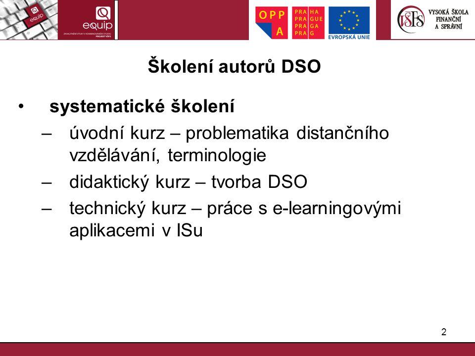 2 Školení autorů DSO systematické školení –úvodní kurz – problematika distančního vzdělávání, terminologie –didaktický kurz – tvorba DSO –technický ku