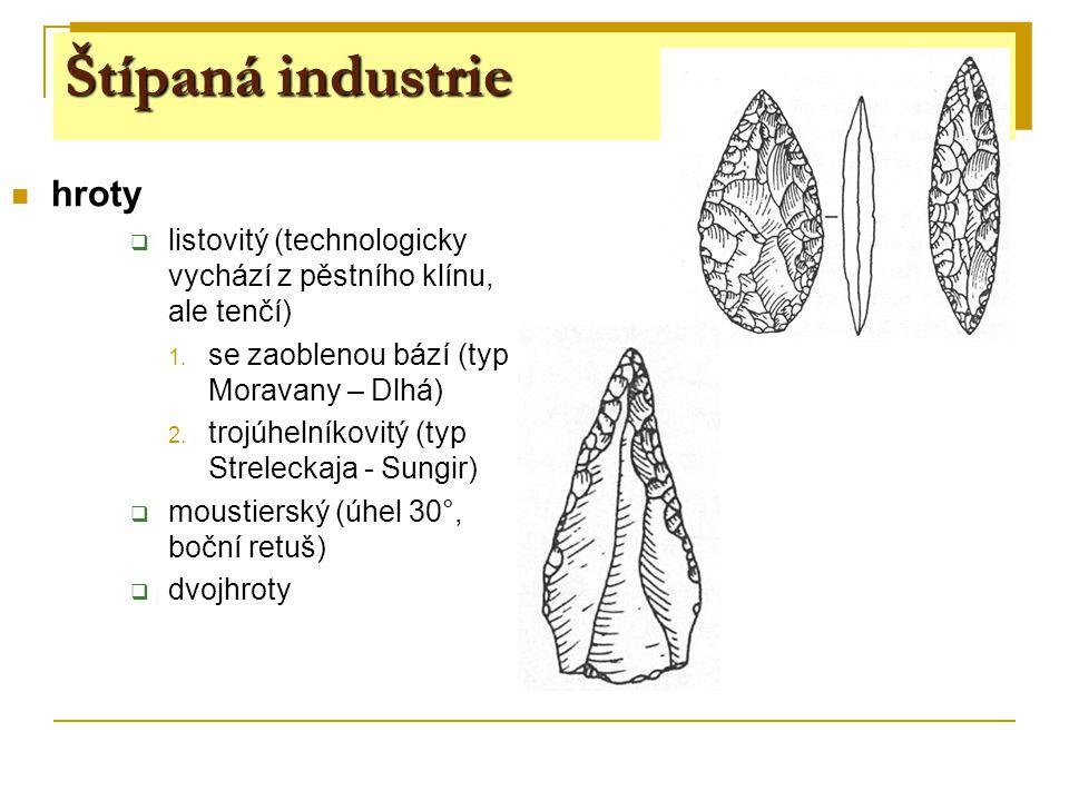 hroty  listovitý (technologicky vychází z pěstního klínu, ale tenčí) 1. se zaoblenou bází (typ Moravany – Dlhá) 2. trojúhelníkovitý (typ Streleckaja