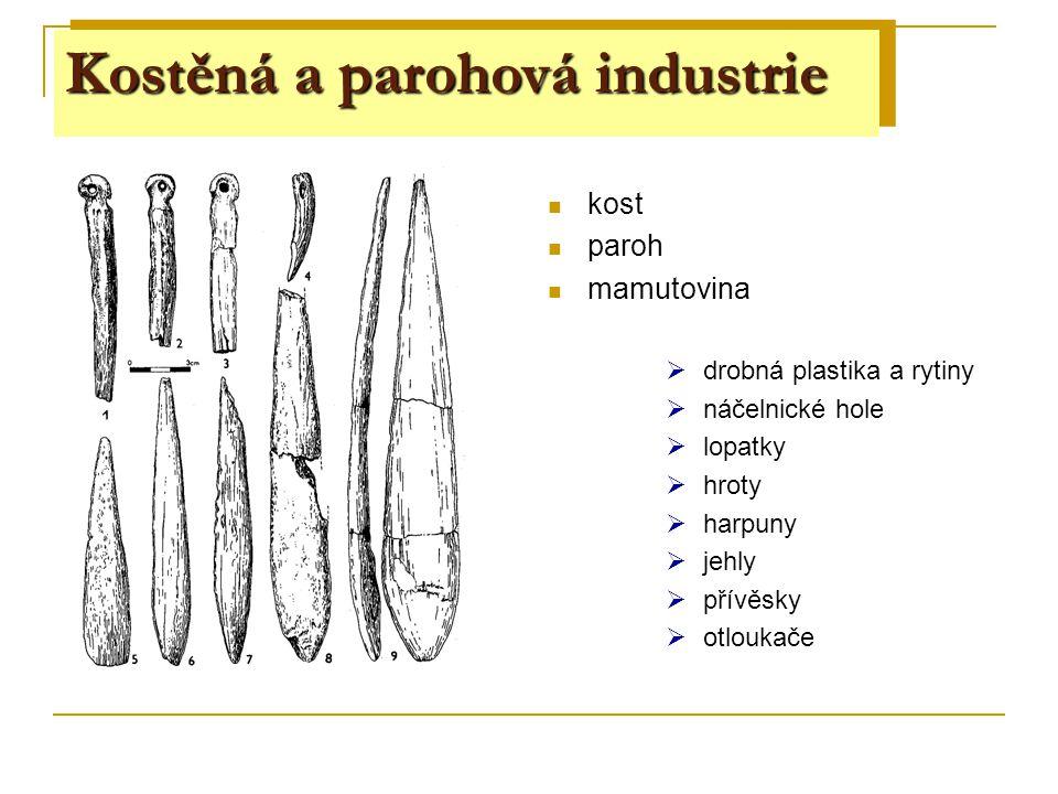 Štípaná industrie kost paroh mamutovina  drobná plastika a rytiny  náčelnické hole  lopatky  hroty  harpuny  jehly  přívěsky  otloukače Kostěn