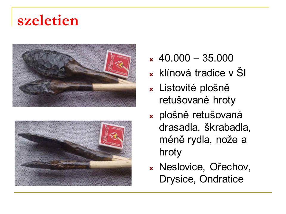szeletien 40.000 – 35.000 klínová tradice v ŠI Listovité plošně retušované hroty plošně retušovaná drasadla, škrabadla, méně rydla, nože a hroty Neslo