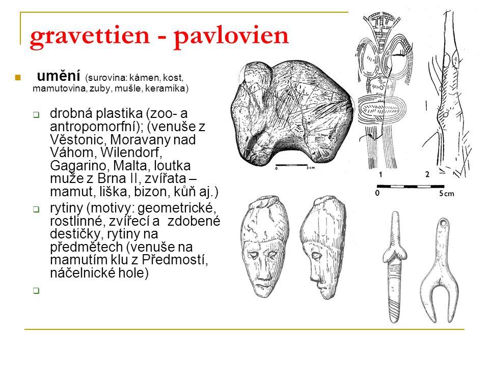gravettien - pavlovien umění (surovina: kámen, kost, mamutovina, zuby, mušle, keramika)  drobná plastika (zoo- a antropomorfní); (venuše z Věstonic, Moravany nad Váhom, Wilendorf, Gagarino, Malta, loutka muže z Brna II, zvířata – mamut, liška, bizon, kůň aj.)  rytiny (motivy: geometrické, rostlinné, zvířecí a zdobené destičky, rytiny na předmětech (venuše na mamutím klu z Předmostí, náčelnické hole) 