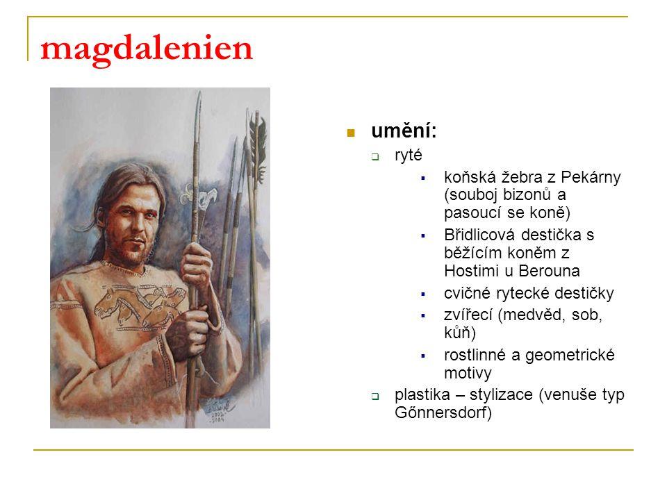 magdalenien umění:  ryté  koňská žebra z Pekárny (souboj bizonů a pasoucí se koně)  Břidlicová destička s běžícím koněm z Hostimi u Berouna  cvičn