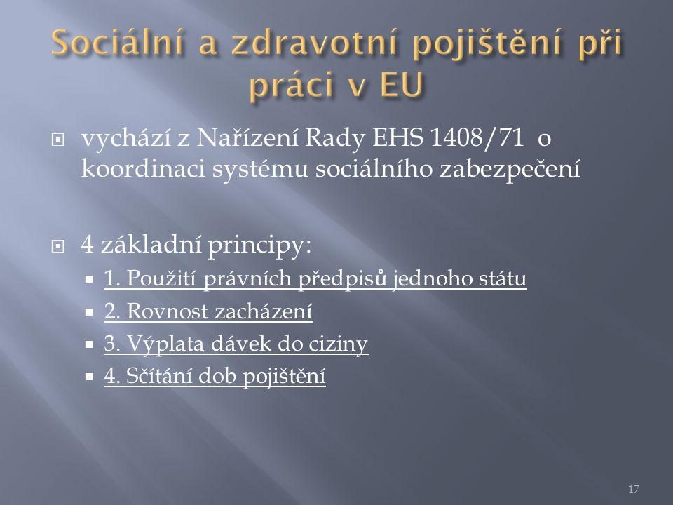  vychází z Nařízení Rady EHS 1408/71 o koordinaci systému sociálního zabezpečení  4 základní principy:  1.