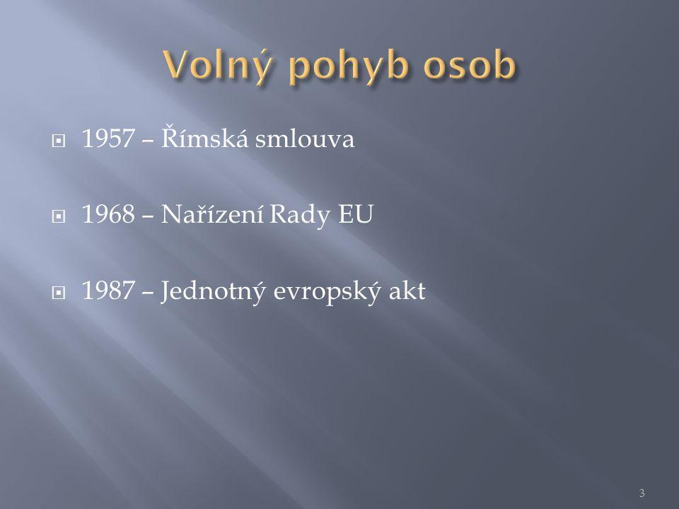  1957 – Římská smlouva  1968 – Nařízení Rady EU  1987 – Jednotný evropský akt 3
