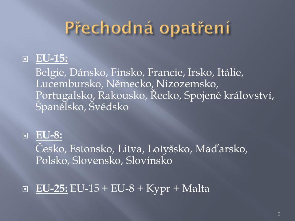  EU-15: Belgie, Dánsko, Finsko, Francie, Irsko, Itálie, Lucembursko, Německo, Nizozemsko, Portugalsko, Rakousko, Řecko, Spojené království, Španělsko, Švédsko  EU-8: Česko, Estonsko, Litva, Lotyšsko, Maďarsko, Polsko, Slovensko, Slovinsko  EU-25: EU-15 + EU-8 + Kypr + Malta 5