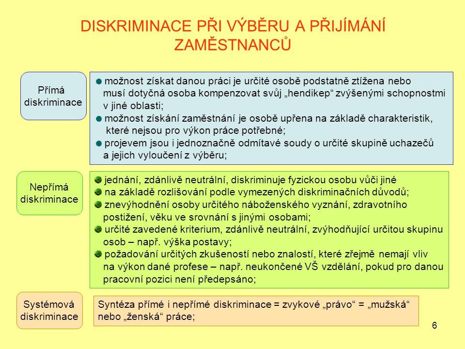 """6 DISKRIMINACE PŘI VÝBĚRU A PŘIJÍMÁNÍ ZAMĚSTNANCŮ Přímá diskriminace možnost získat danou práci je určité osobě podstatně ztížena nebo musí dotyčná osoba kompenzovat svůj """"hendikep zvýšenými schopnostmi v jiné oblasti; možnost získání zaměstnání je osobě upřena na základě charakteristik, které nejsou pro výkon práce potřebné; projevem jsou i jednoznačně odmítavé soudy o určité skupině uchazečů a jejich vyloučení z výběru; Nepřímá diskriminace jednání, zdánlivě neutrální, diskriminuje fyzickou osobu vůči jiné na základě rozlišování podle vymezených diskriminačních důvodů; znevýhodnění osoby určitého náboženského vyznání, zdravotního postižení, věku ve srovnání s jinými osobami; určité zavedené kriterium, zdánlivě neutrální, zvýhodňující určitou skupinu osob – např."""