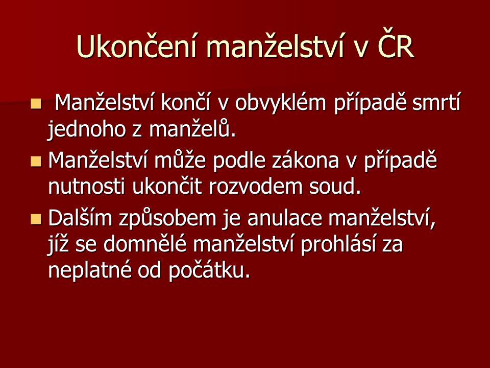 Ukončení manželství v ČR Manželství končí v obvyklém případě smrtí jednoho z manželů.