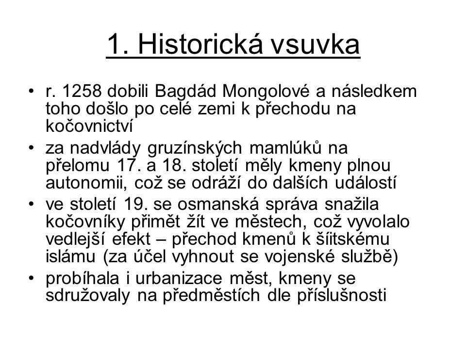 1. Historická vsuvka r. 1258 dobili Bagdád Mongolové a následkem toho došlo po celé zemi k přechodu na kočovnictví za nadvlády gruzínských mamlúků na
