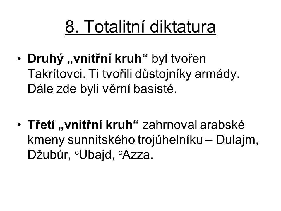 """8. Totalitní diktatura Druhý """"vnitřní kruh"""" byl tvořen Takrítovci. Ti tvořili důstojníky armády. Dále zde byli věrní basisté. Třetí """"vnitřní kruh"""" zah"""