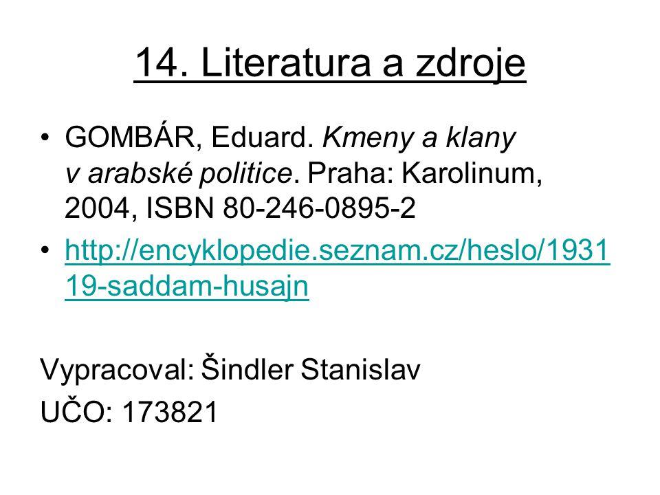 14. Literatura a zdroje GOMBÁR, Eduard. Kmeny a klany v arabské politice. Praha: Karolinum, 2004, ISBN 80-246-0895-2 http://encyklopedie.seznam.cz/hes