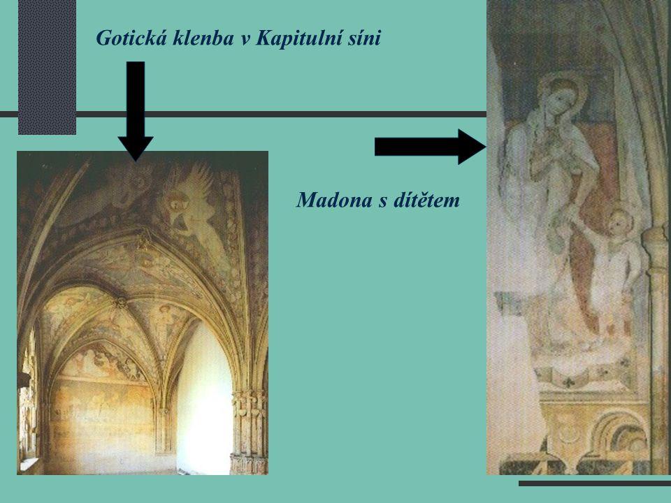 Gotická klenba v Kapitulní síni Madona s dítětem