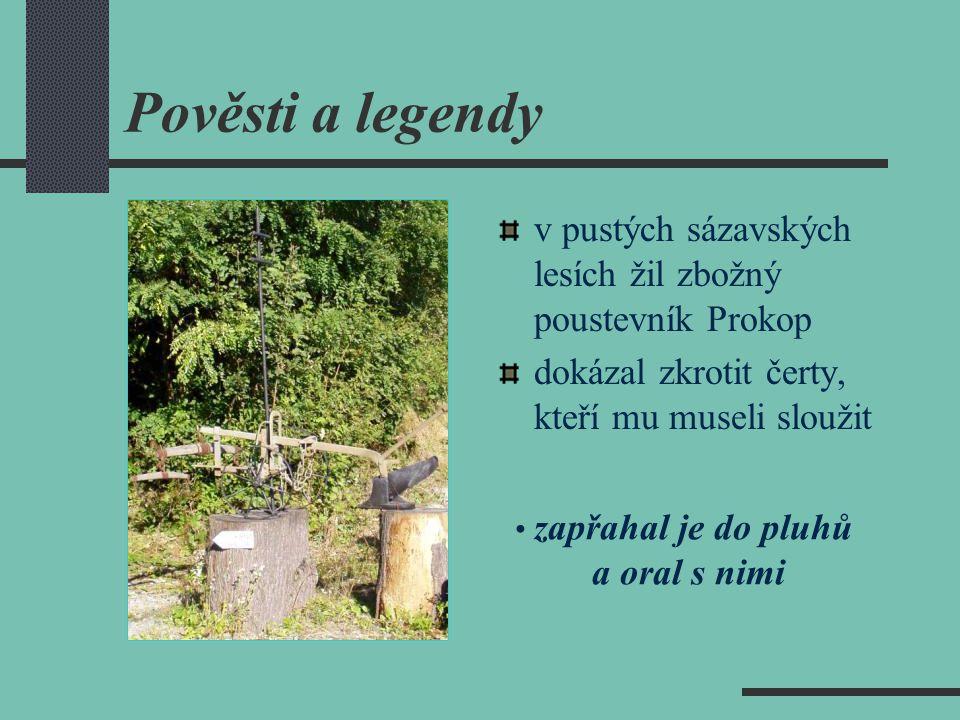 Pověsti a legendy v pustých sázavských lesích žil zbožný poustevník Prokop dokázal zkrotit čerty, kteří mu museli sloužit zapřahal je do pluhů a oral