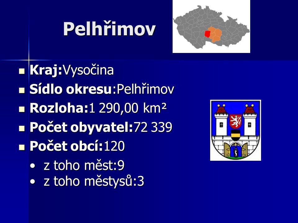 Pelhřimov Kraj:Vysočina Kraj:Vysočina Sídlo okresu:Pelhřimov Sídlo okresu:Pelhřimov Rozloha:1 290,00 km² Rozloha:1 290,00 km² Počet obyvatel:72 339 Po