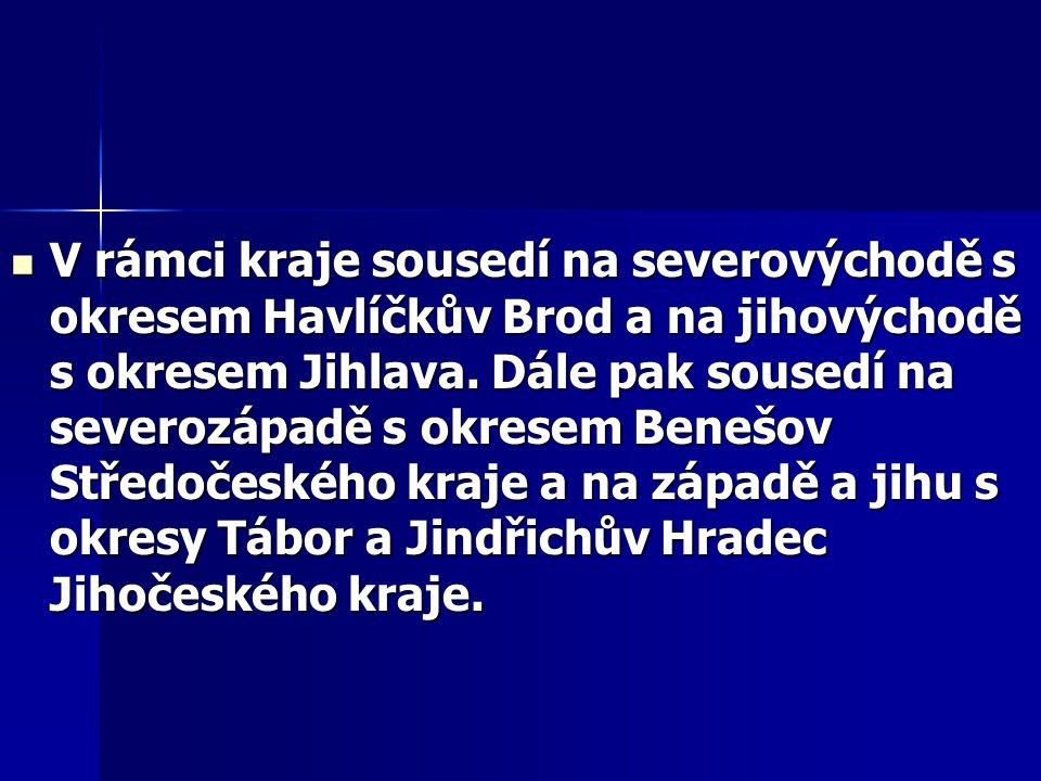 V rámci kraje sousedí na severovýchodě s okresem Havlíčkův Brod a na jihovýchodě s okresem Jihlava. Dále pak sousedí na severozápadě s okresem Benešov