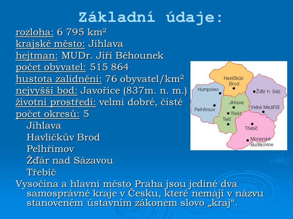 rozloha: 6 795 km 2 krajské město: Jihlava hejtman: MUDr. Jiří Běhounek počet obyvatel: 515 864 hustota zalidnění: 76 obyvatel/km 2 nejvyšší bod: Javo