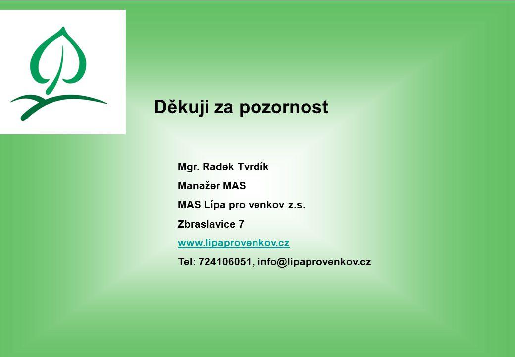 Děkuji za pozornost Mgr. Radek Tvrdík Manažer MAS MAS Lípa pro venkov z.s. Zbraslavice 7 www.lipaprovenkov.cz Tel: 724106051, info@lipaprovenkov.cz