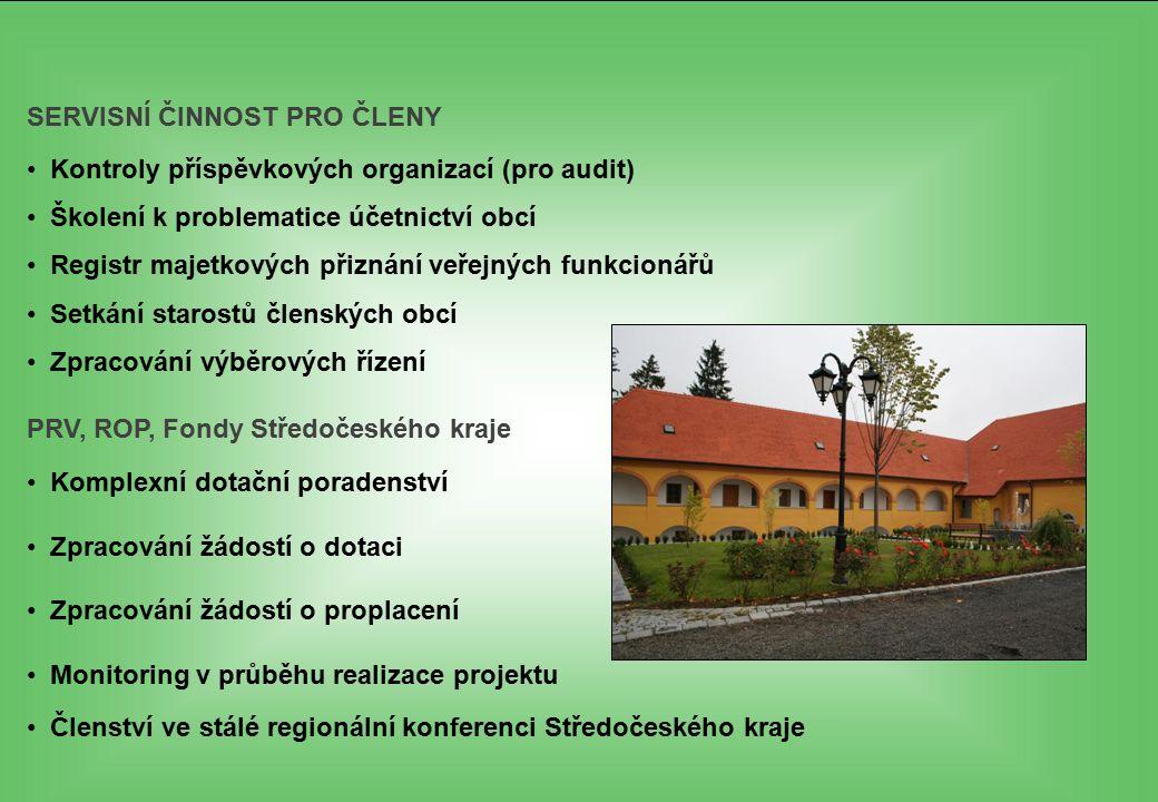 SERVISNÍ ČINNOST PRO ČLENY Kontroly příspěvkových organizací (pro audit) Školení k problematice účetnictví obcí Registr majetkových přiznání veřejných