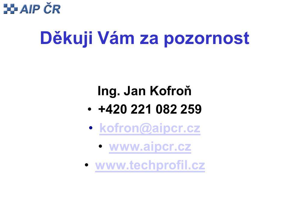 Děkuji Vám za pozornost Ing. Jan Kofroň +420 221 082 259 kofron@aipcr.cz www.aipcr.cz www.techprofil.cz