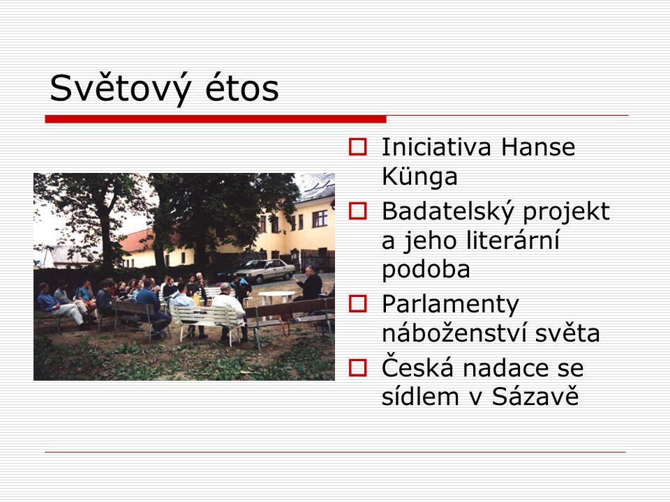 Světový étos  Iniciativa Hanse Künga  Badatelský projekt a jeho literární podoba  Parlamenty náboženství světa  Česká nadace se sídlem v Sázavě