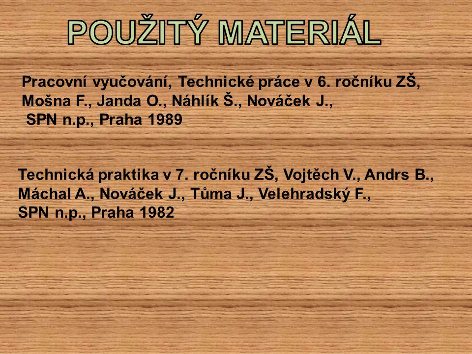 Pracovní vyučování, Technické práce v 6. ročníku ZŠ, Mošna F., Janda O., Náhlík Š., Nováček J., SPN n.p., Praha 1989 Technická praktika v 7. ročníku Z