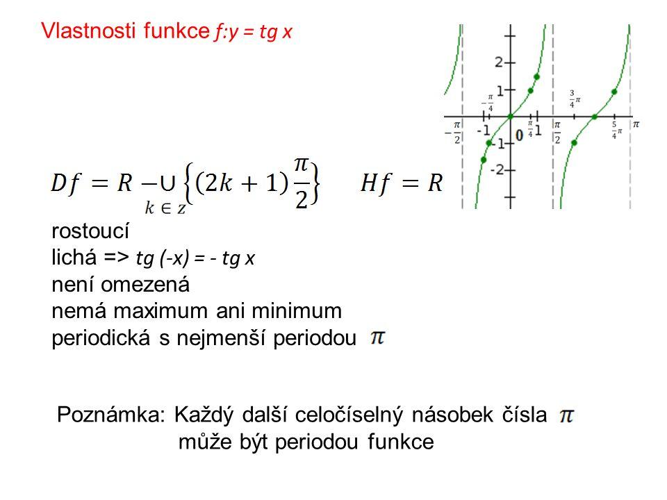 Vlastnosti funkce f:y = tg x rostoucí lichá => tg (-x) = - tg x není omezená nemá maximum ani minimum periodická s nejmenší periodou Poznámka: Každý d