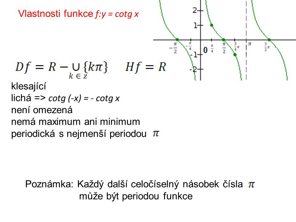 Vlastnosti funkce f:y = cotg x Poznámka: Každý další celočíselný násobek čísla může být periodou funkce klesající lichá => cotg (-x) = - cotg x není o