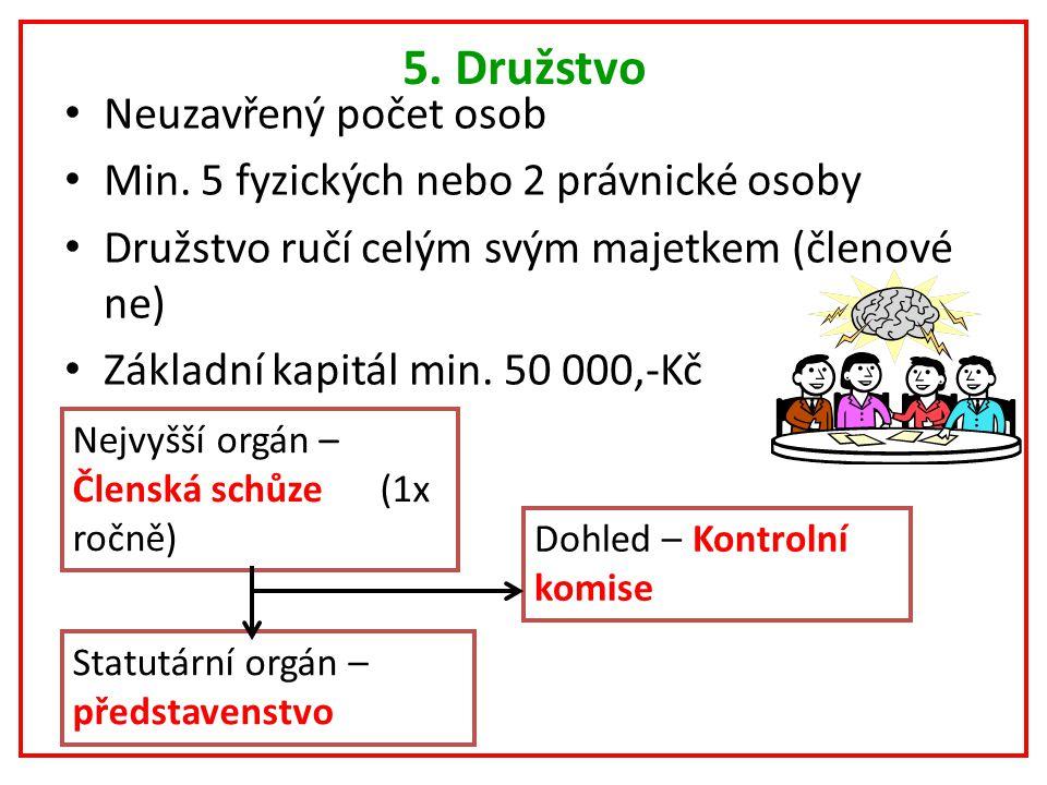 5. Družstvo Neuzavřený počet osob Min.