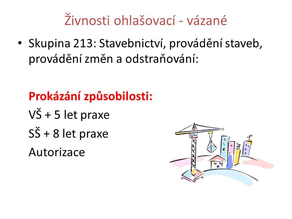 Skupina 213: Stavebnictví, provádění staveb, provádění změn a odstraňování: Prokázání způsobilosti: VŠ + 5 let praxe SŠ + 8 let praxe Autorizace Živnosti ohlašovací - vázané