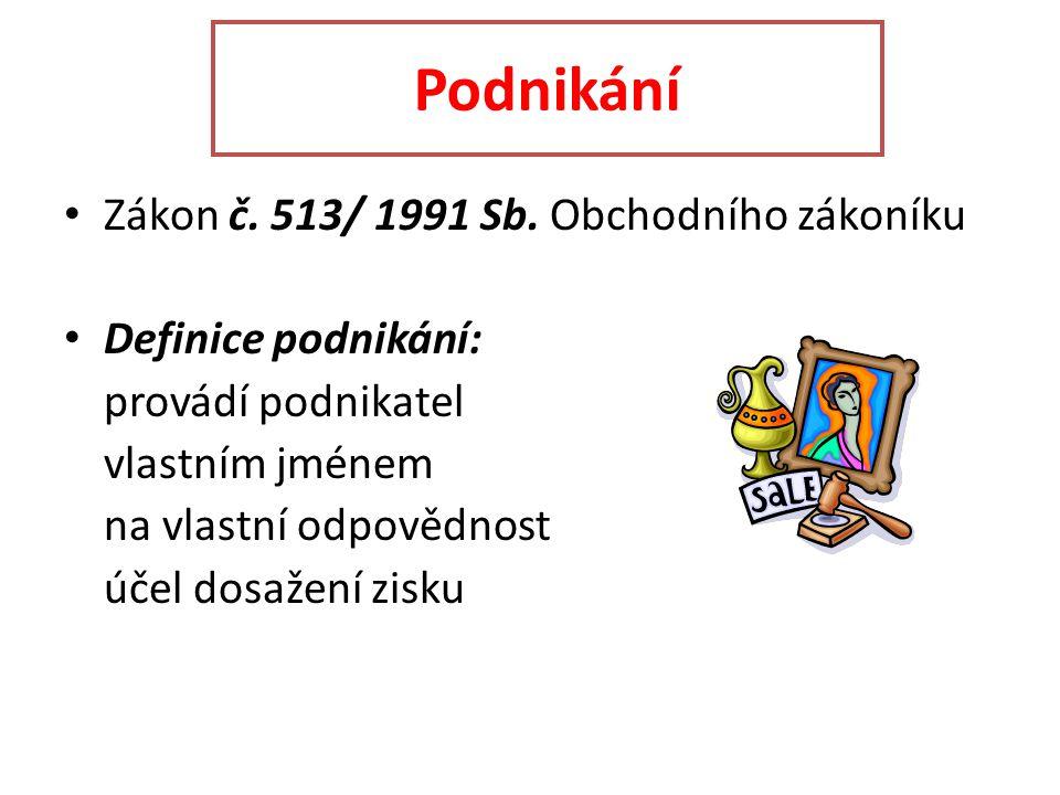 Podnikání Zákon č. 513/ 1991 Sb.