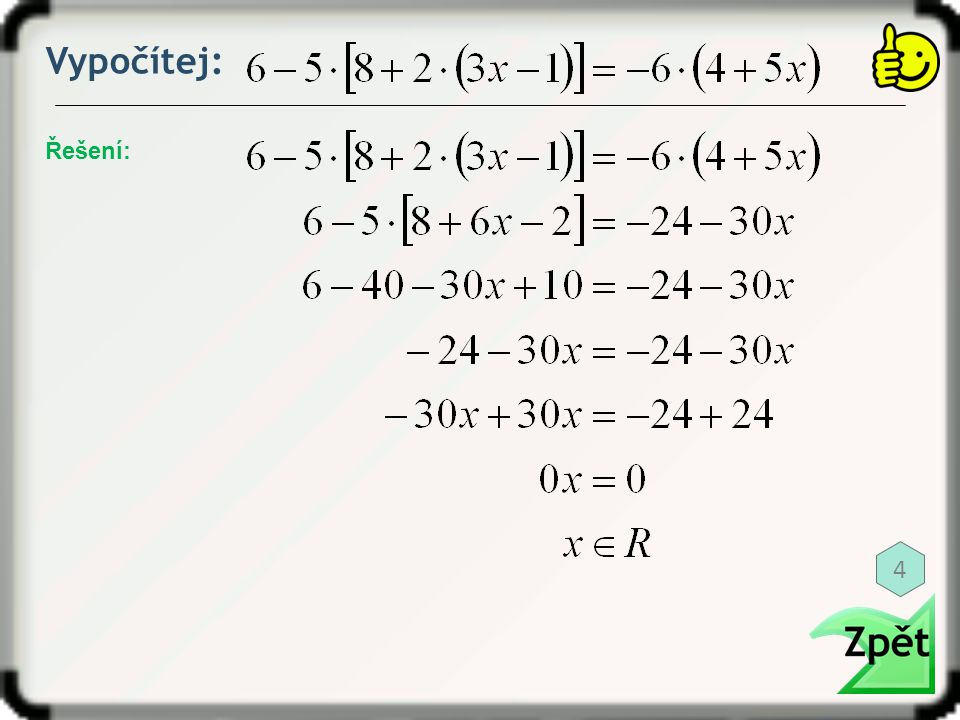 Vypočítej: Řešení: 15