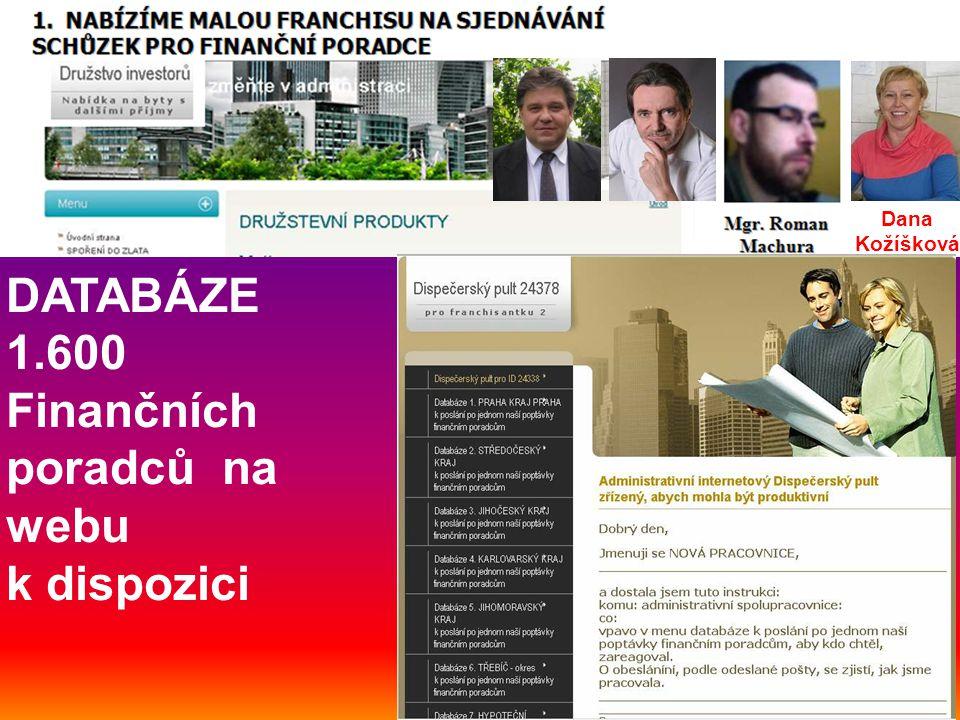 DATABÁZE 1.600 Finančních poradců na webu k dispozici Dana Kožíšková