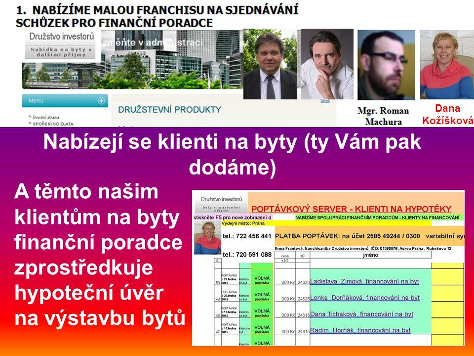 Nabízejí se klienti na byty (ty Vám pak dodáme) A těmto našim klientům na byty finanční poradce zprostředkuje hypoteční úvěr na výstavbu bytů Dana Kožíšková