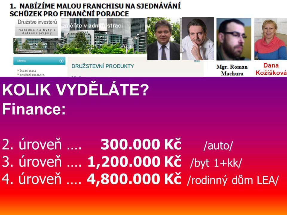 KOLIK VYDĚLÁTE. Finance: 2. úroveň …. 300.000 Kč /auto/ 3.