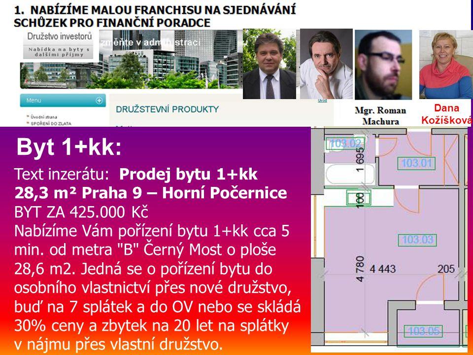 Text inzerátu: Prodej bytu 1+kk 28,3 m² Praha 9 – Horní Počernice BYT ZA 425.000 Kč Nabízíme Vám pořízení bytu 1+kk cca 5 min.